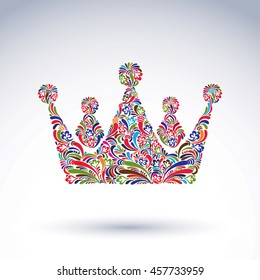 Colorful flower-patterned crown, coronation design element. Classic royal accessory decorated with abstract flower pattern.
