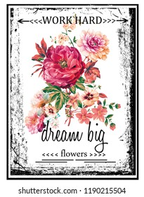 Colorful flowers with around black texts and frame. JPEG format.