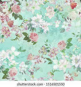 colorful flowers background.watercolor - Illustration