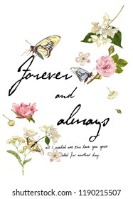 Colorful flowers and butterflies with around black texts. JPEG format.
