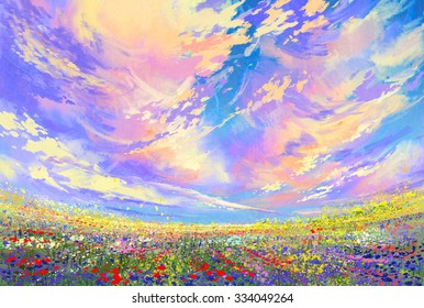 Colorful Flowers In Field Under Beautiful Cloudslandscape Painting