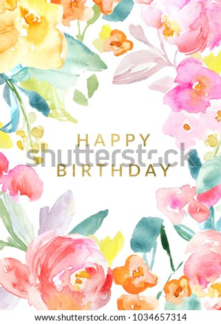 Colorful Flowers Happy Birthday Card Background Stock Illustration