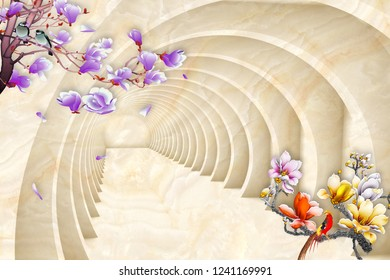 Colorful flowers on braches on 3D decorative background 3D wallpaper