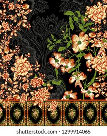 colorful flowers and stylish floral pattern border with paisley background design for textile and digital print - Illustration