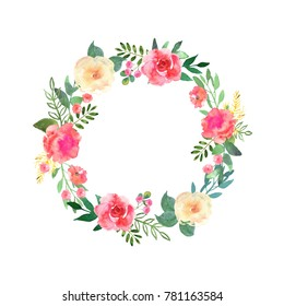 Colorful flowers wreath. Elegant floral collection with beautiful flowers and leaves in watercolor, hand drawn. Design for invitation, wedding or greeting cards.