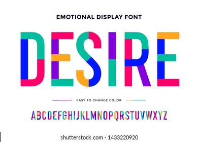 Colorful font. Colorful condensed alphabet and font. Condensed bold uppercase color letters. Type, typography letter latin font. Hand-drawn modern narrow font for headline, text. Illustration