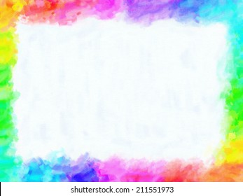 Colorful frame painting and drawing crayons with empty free space in the center. Oil or watercolor painting with vivid high satured colors.
