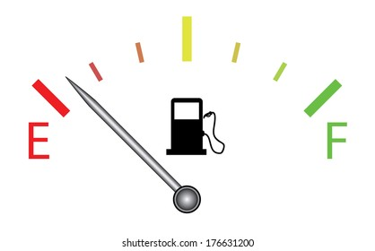 Colorful fuel gauge with silver indicator, raster version.