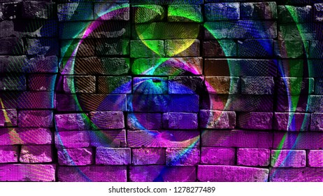 Colorful futuristic shapes. Virtual graffiti. Abstract image, drawn on a photo of a brick wall. Digital graphics by Igor Mishenev (artist-abstractionist).