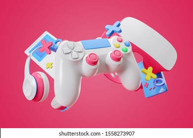 Colorful gamepad, headphones and game console hanging isolated on a pink background. Gaming concept. 3d rendering.