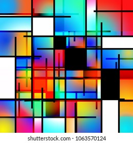 Colorful geometric background Mondrian inspired. 3D rendering