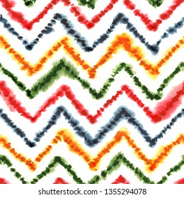 Colorful geometric moroccan rug with zigzag ornament. Seamless watercolor pattern