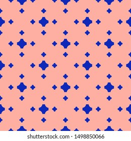 Colorful geometric seamless pattern. Simple raster abstract texture with small crosses, floral shapes. Bright blue and pink color. Funky minimalist background. Repeat design for decor, prints, textile