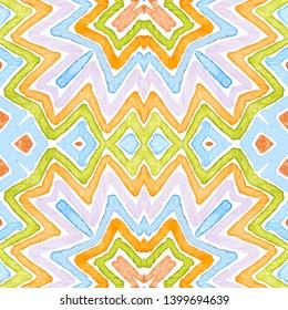 Colorful Geometric Watercolor. Dazzling Seamless Pattern. Hand Drawn Stripes. Brush Texture. Energetic Chevron Ornament. Fabric Cloth Swimwear Design Wallpaper Wrapping.