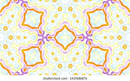 Colorful Geometric Watercolor. Dazzling Seamless Pattern. Hand Drawn Stripes. Brush Texture. Fetching Chevron Ornament. Fabric Cloth Swimwear Design Wallpaper Wrapping.