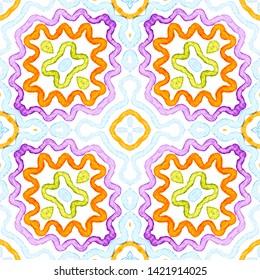 Colorful Geometric Watercolor. Dazzling Seamless Pattern. Hand Drawn Stripes. Brush Texture. Eminent Chevron Ornament. Fabric Cloth Swimwear Design Wallpaper Wrapping.