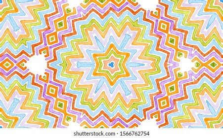 Colorful Geometric Watercolor. Dazzling Seamless Pattern. Hand Drawn Stripes. Brush Texture. Awesome Chevron Ornament. Fabric Cloth Swimwear Design Wallpaper Wrapping.