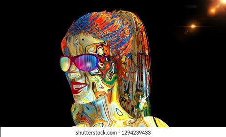 Colorful girl with glasses, woman's head with face covered in paint and long hair isolated on black background, 3D rendering