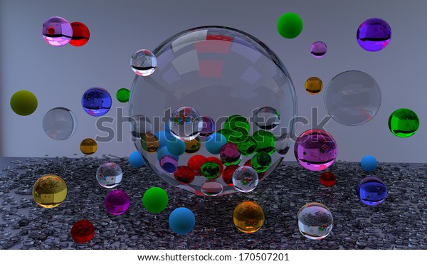 colorful glass bubbles floating in the air, over a gray background, 3D illustration, raster illustration
