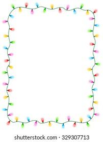 colorful glowing christmas lights border frame colorful holiday lights illustration - Christmas Light Border