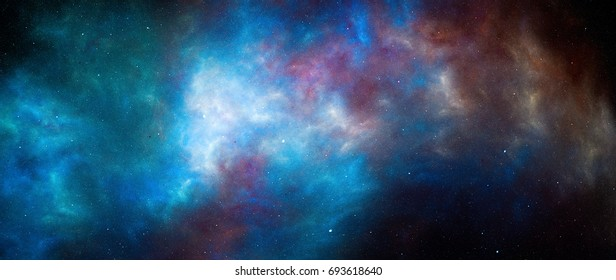 Colorful glowing nebula in deep space, computer generated abstract background, 5k widescreen, 3D rendering