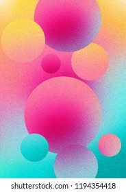 Colorful gradient background with pink, yellow and turquoise bubbles and a grain look