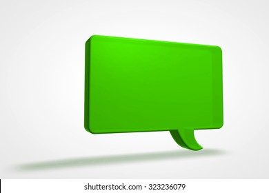 A colorful green 3D speech bubble illustration.