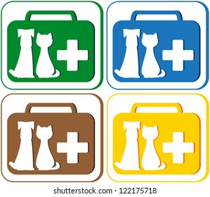 colorful green, blue, red and yellow set with veterinary symbol - portfolio and pet dog with cat