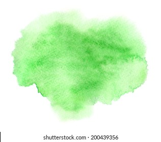 Colorful green watercolor stain with aquarelle paint blotch