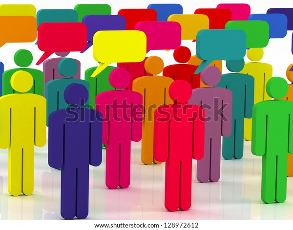 colorful group of people talking in the social network