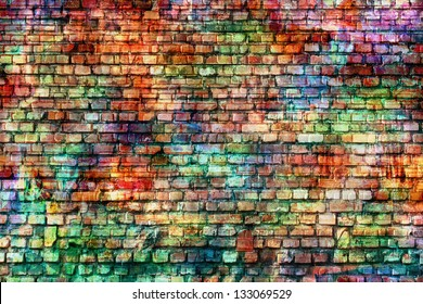 colorful grunge art wall illustration, urban art wallpaper, background