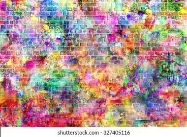 Colorful grunge art wall illustration, urban art wallpaper, street art background.