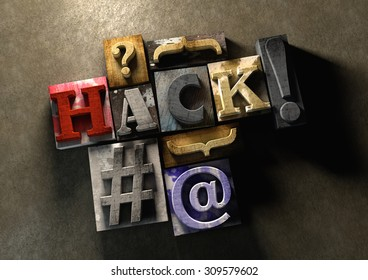 Colorful, grunge textured wooden printing blocks packed together to form the word hack. Concept for hacking or stealing code, passwords and data. Shot from the top.