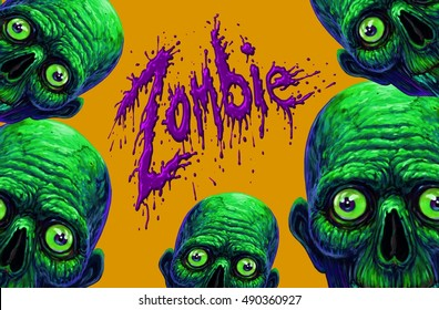 Colorful halloween illustration with the creepy cartoon  zombie characters. Creepy horror text