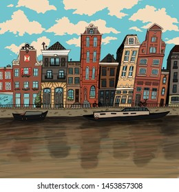Colorful hand drawn illustration of Amsterdam canal.May be used for a postcard