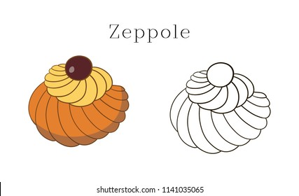 Colorful hand drawn  illustration of delicious home made Zeppole pastries.
