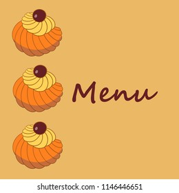 Colorful hand drawn  illustration of delicious home made Zeppole pastries. Menu cover.
