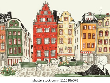 Colorful hand drawn illustration of stockholm houses, street sketch of european city. Ink and markers.