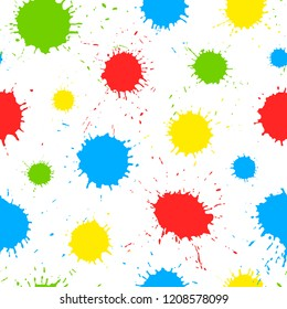 Colorful hand drawn paint splashes on white background. Seamless pattern with color ink strokes, design for kids.