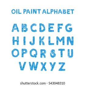 Colorful hand painted blue alphabet. Oil paint. High resolution.