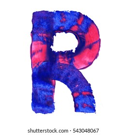 Colorful hand painted blue letter R. Oil paint. High resolution.