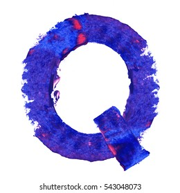 Colorful hand painted blue letter Q. Oil paint. High resolution.
