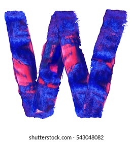 Colorful hand painted blue letter W. Oil paint. High resolution.