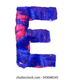 Colorful hand painted blue letter E. Oil paint. High resolution.