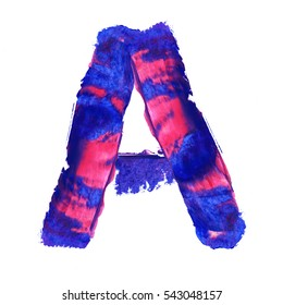 Colorful hand painted blue letter A. Oil paint. High resolution.