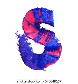 Colorful hand painted blue letter S. Oil paint. High resolution.