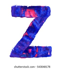 Colorful hand painted blue letter Z. Oil paint. High resolution.