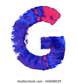 Colorful hand painted blue letter G. Oil paint. High resolution.