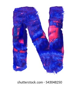 Colorful hand painted blue letter N. Oil paint. High resolution.