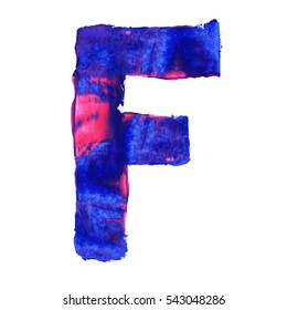 Colorful hand painted blue letter F. Oil paint. High resolution.
